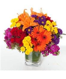 Lilies, roses and gerberas floral arrangement