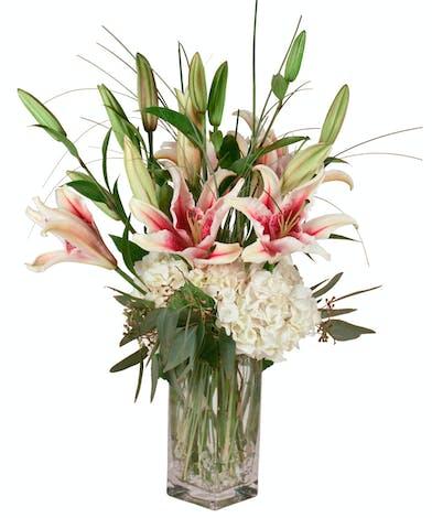 Stargazer & Hydrangea Birthday Flowers