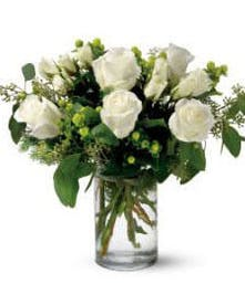 Pure white Roses with green accents