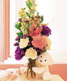 Fresh Flowers with Cuddly Teddy Bear Included!