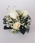 Black Beauty Three Sweetheart Rose Wrist Corsage