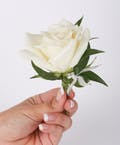 Classic Rose Pin On Boutonniere with Leaf Bling