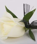 Classic White Rose Pin On Boutonniere with Tuck