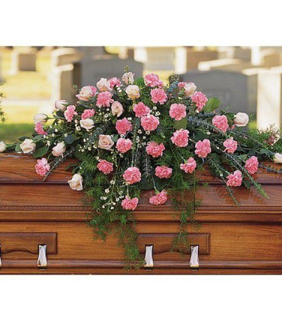 Feminine Casket Spray Pink And White Spray Funeral Flowers For
