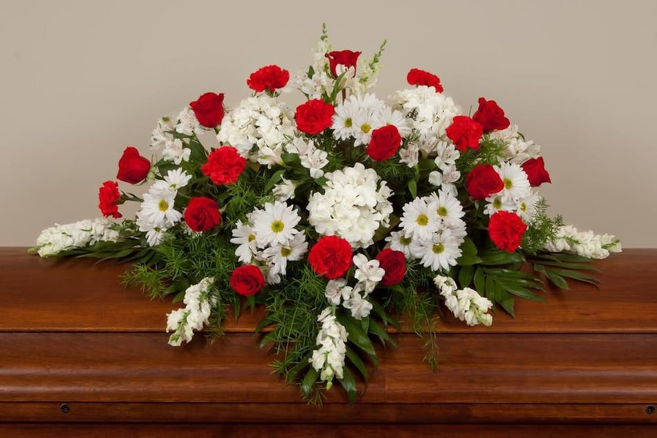 Red And White Funeral Flowers Seasonal Casket Spray