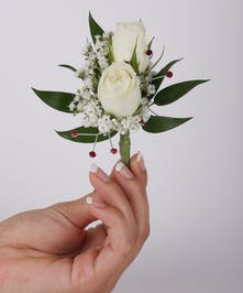 Two Sweetheart Rose Pin On Boutonniere