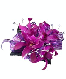 Beautiful dendrobium orchid corsage in an array of colors and wristlets