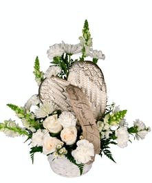 Keepsake wings that can be displayed after the service.