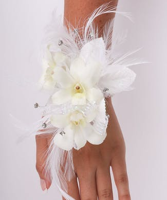 3 Dendrobium Orchid Wrist Corsage with Double Feathers