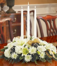 All White Triple Candle Centerpiece