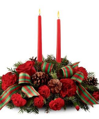Christmas Centerpiece - Double Candle