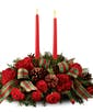 Christmas Centerpiece with Red Taper Candles