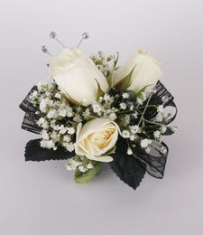 Black Beauty Three Sweetheart Rose Wrist Corsage