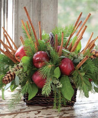 Cinnamon Cider Basket with Real Apples