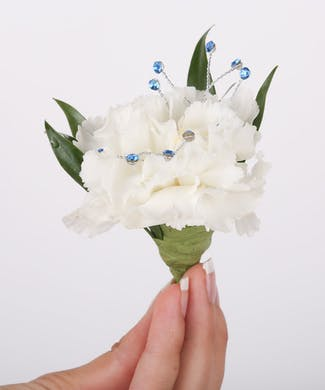 Classic Carnation Boutonniere with Bling