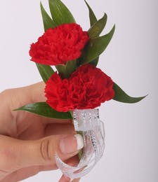 Classic Double Mini Carnation Boutonniere with Tuck