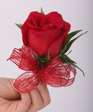 Classic Red Rose Pin On Corsage with Sheer Ribbon Choices