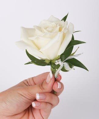 Classic Rose Boutonniere with Leaf Bling