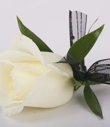Classic White Rose Boutonniere with Tuck