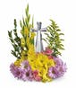 Crystal Cross  - (Yellow and Lavender Flowers)