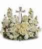 Divine Peace Bouquet PM Crystal Cross (All White Flowers)