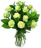Dozen Green Roses with Accent Flower