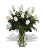 Dozen White Roses With Accent Flower