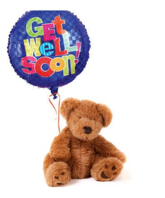 Get Well Soon Balloon Bouquet with Teddy Bear