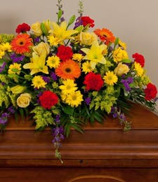 Mixed Bold Colors Casket Spray