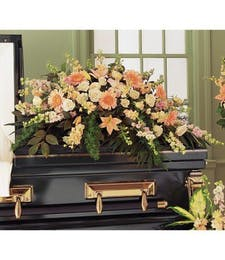 Peach Sympathy Casket Spray