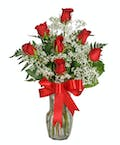 Seven Rose Arrangement with Accent Flower - One Sided Design