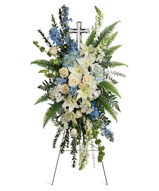 Eternal Grace Easel Spray with Keepsake Cross