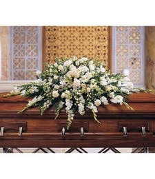 White Beauty Sympathy Casket Spray