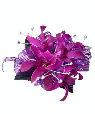 Dendrobium Orchid Corsage with Bling