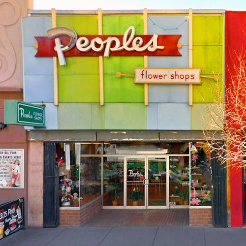 The brightly-colored vintage facade of our downtown Albuquerque showroom